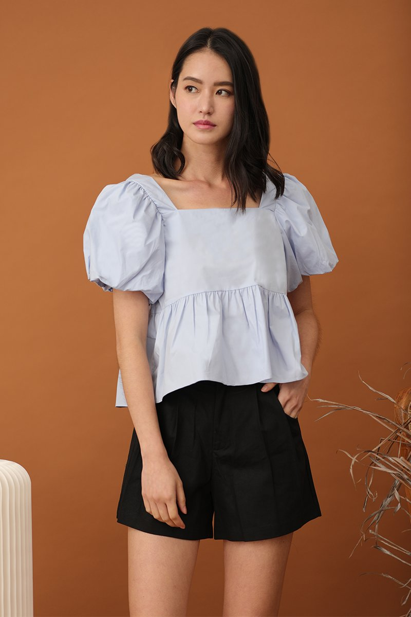 Joelle Puff Sleeve Top Sky
