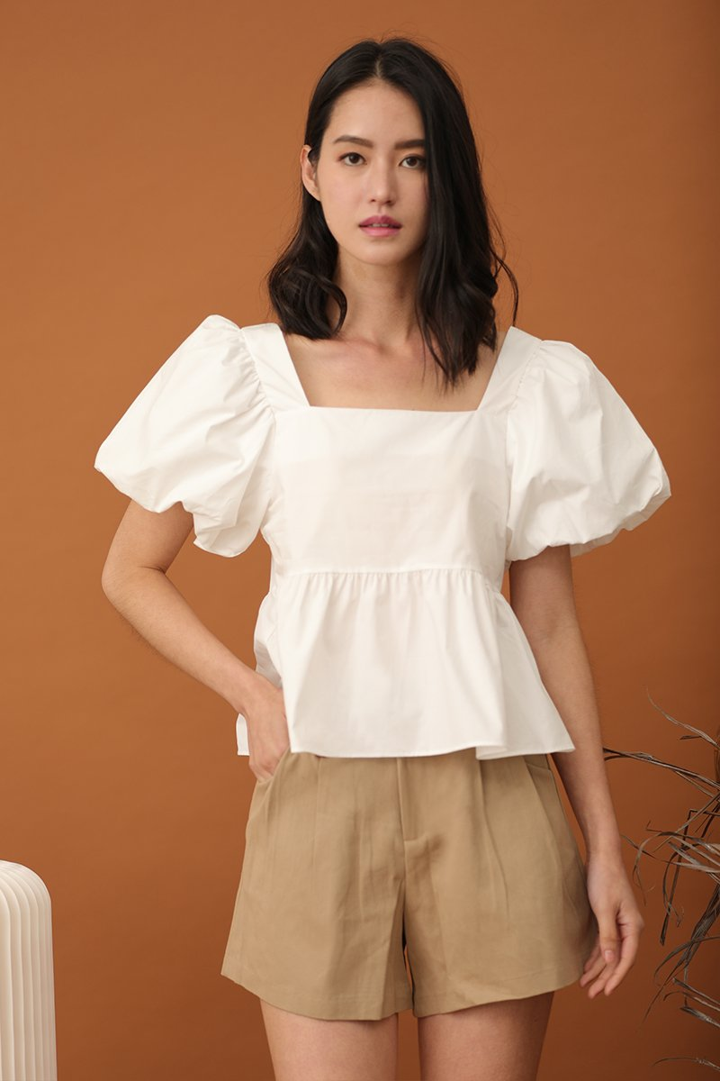 Joelle Puff Sleeve Top Ivory