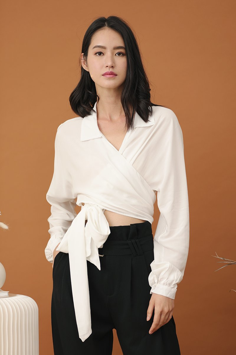 Talisa Wrapped Crop Top Ivory