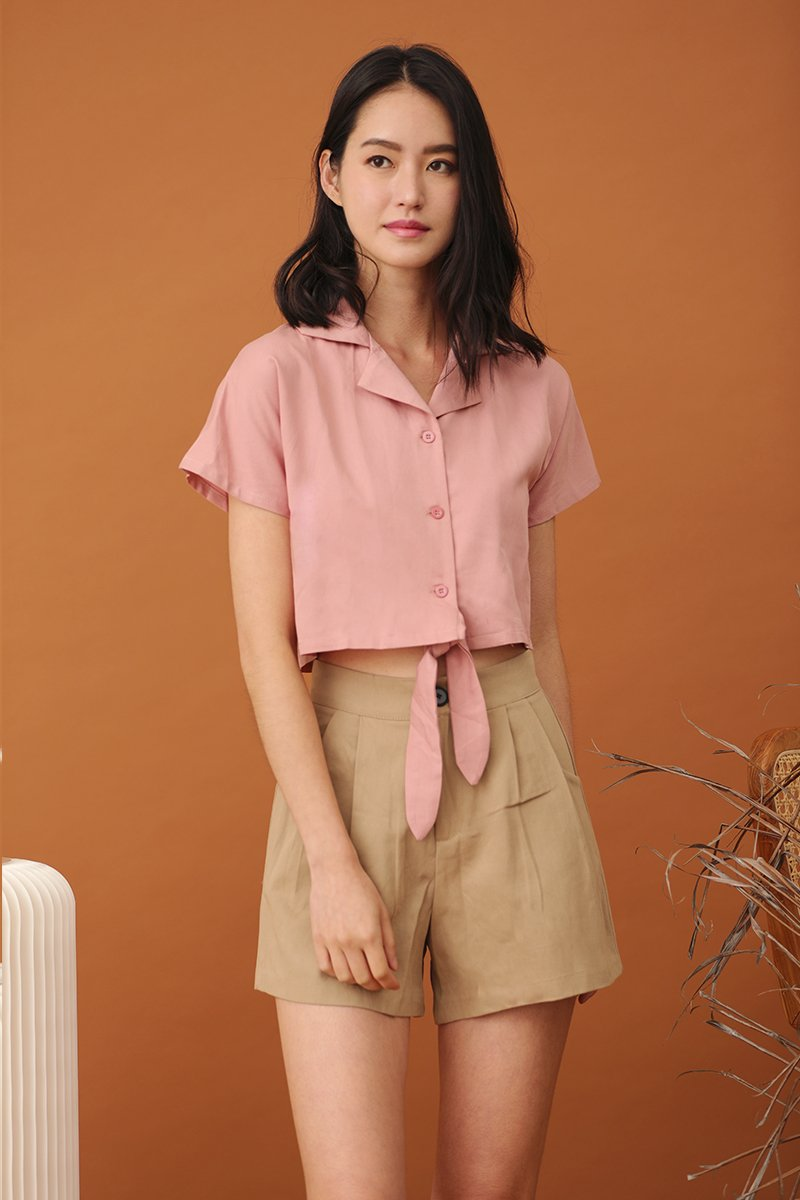 Jaynie Button Crop Top Blush