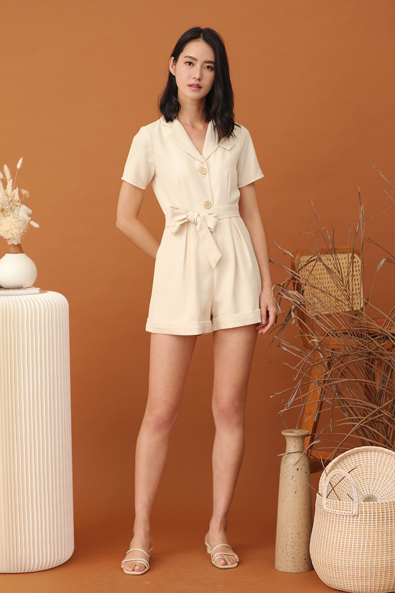 Jovie Buttoned Romper Cream