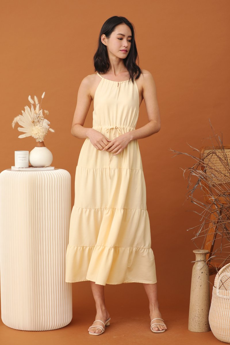 Anne Halter Neck Maxi Dress Daffodil