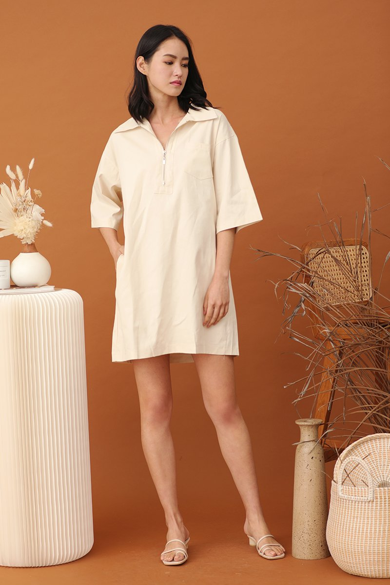 Zoen Oversized Shirt Dress Cream