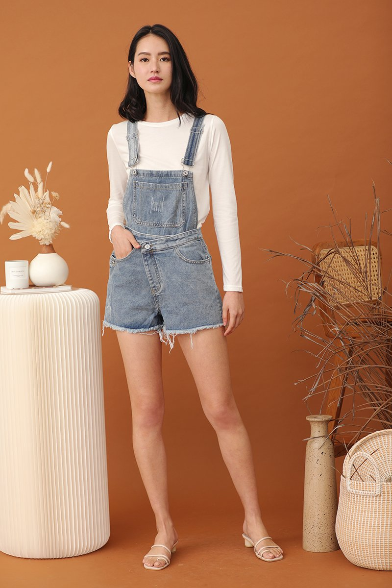 Hebe Overlapped Denim Dungaree Light