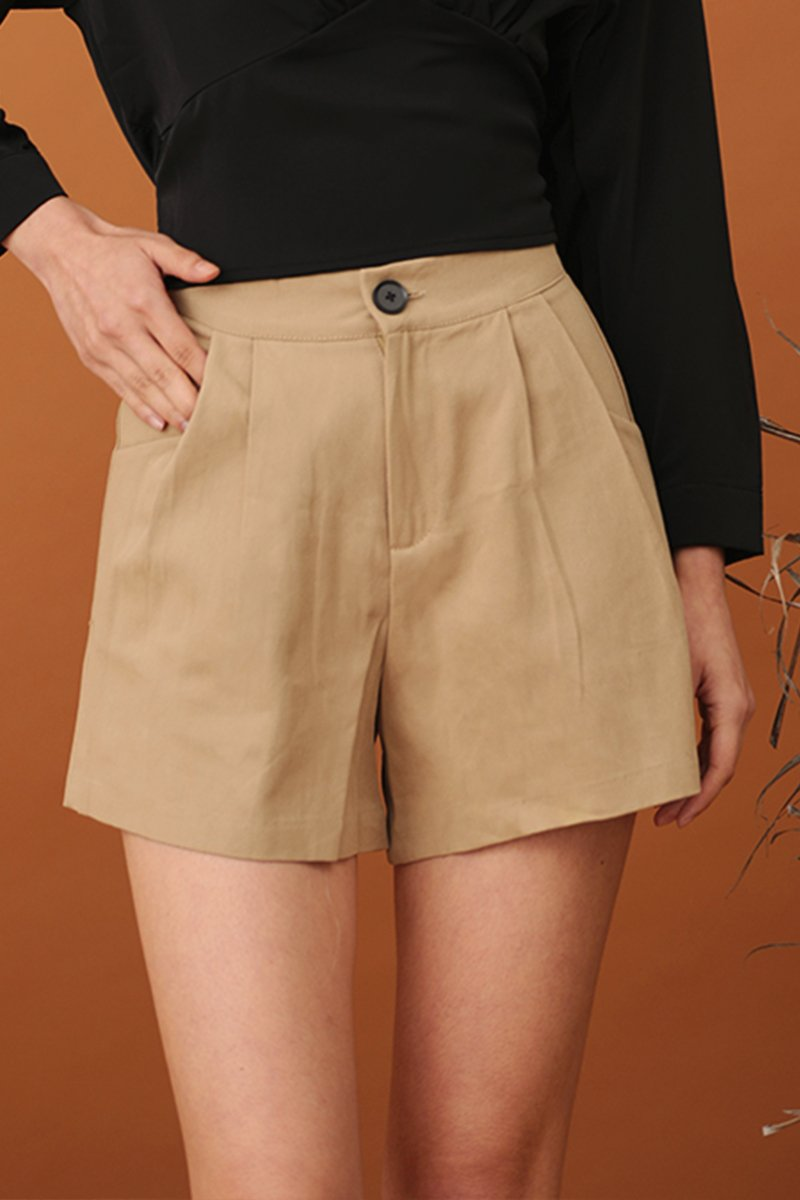 Gina Pleated Button Shorts  Khaki