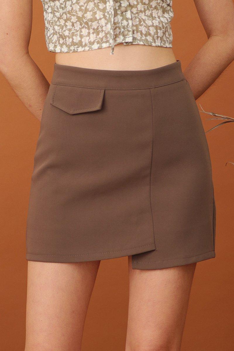 Akira Asymmetrical Skirt Cocoa