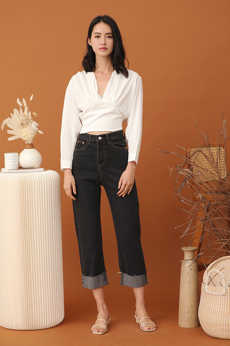 Fionne Wide Leg Denim Pants Dark Wash