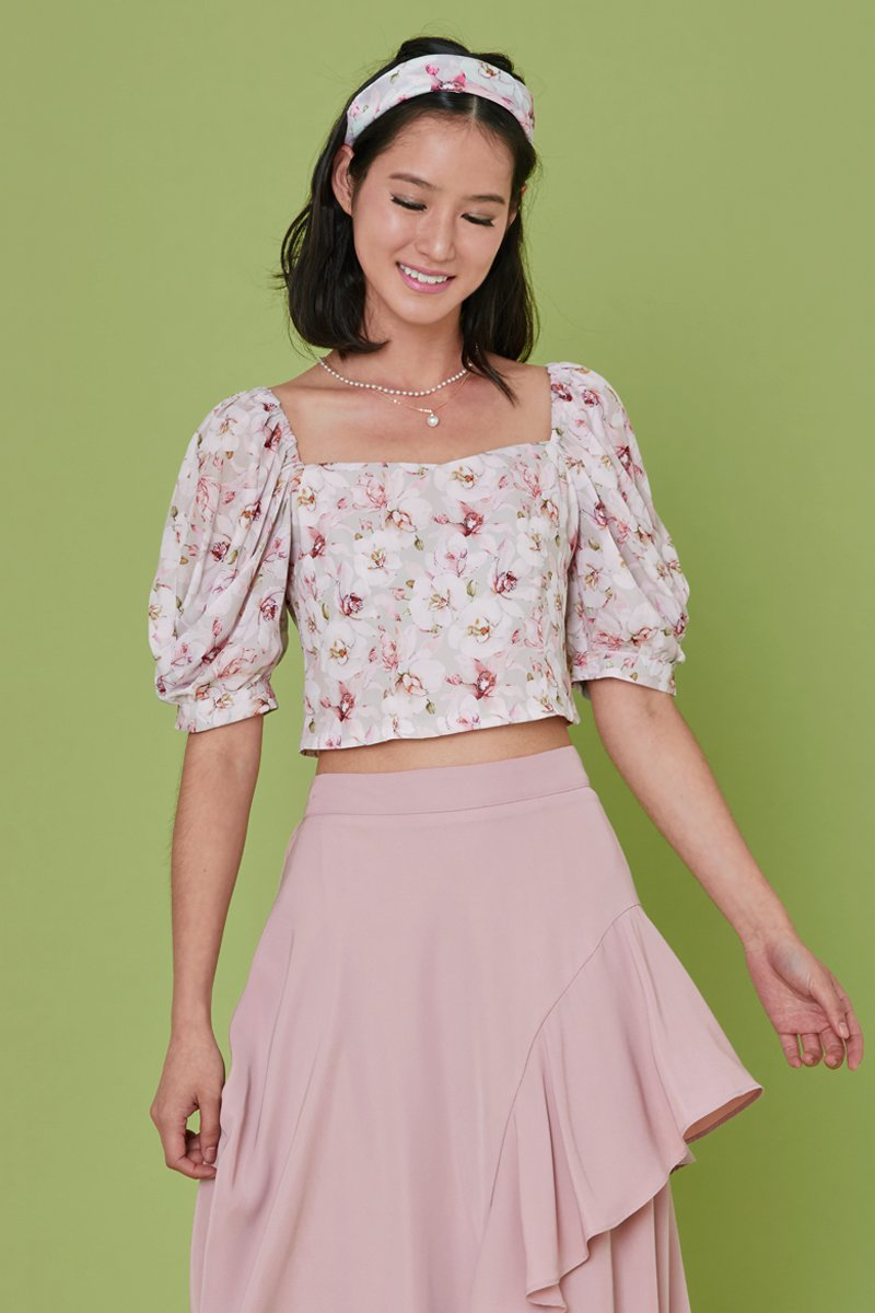 Rosella Floral Puff Sleeve Top Blush