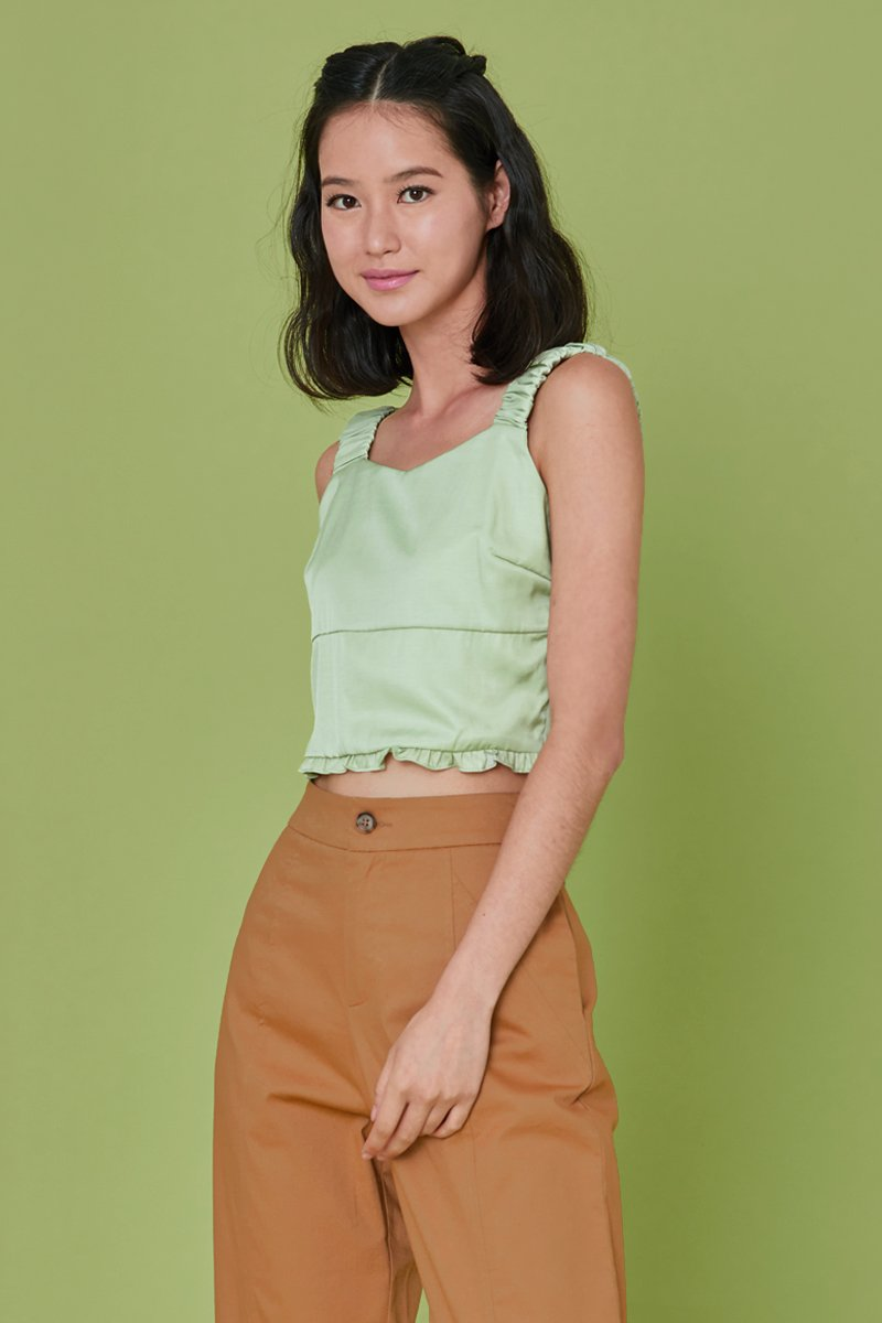Karelle Frill Trim Tank Top Mint