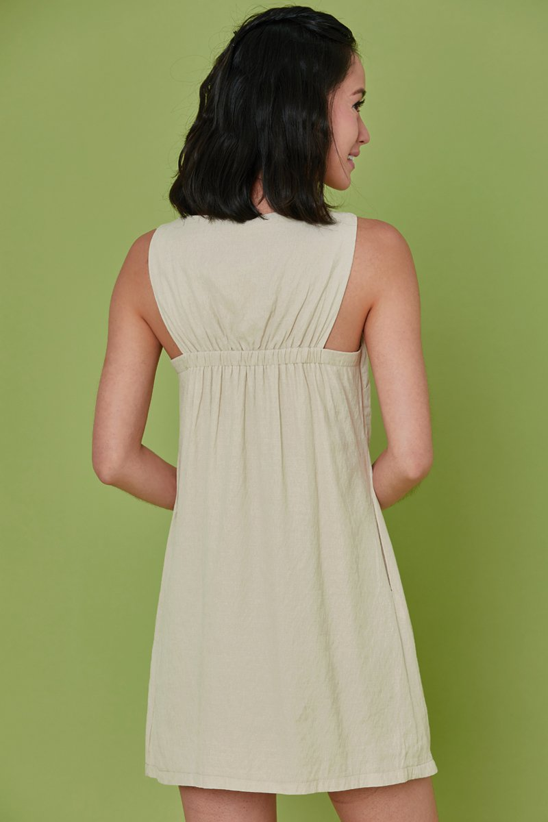 Mabeline Linen Shift Dress Cream
