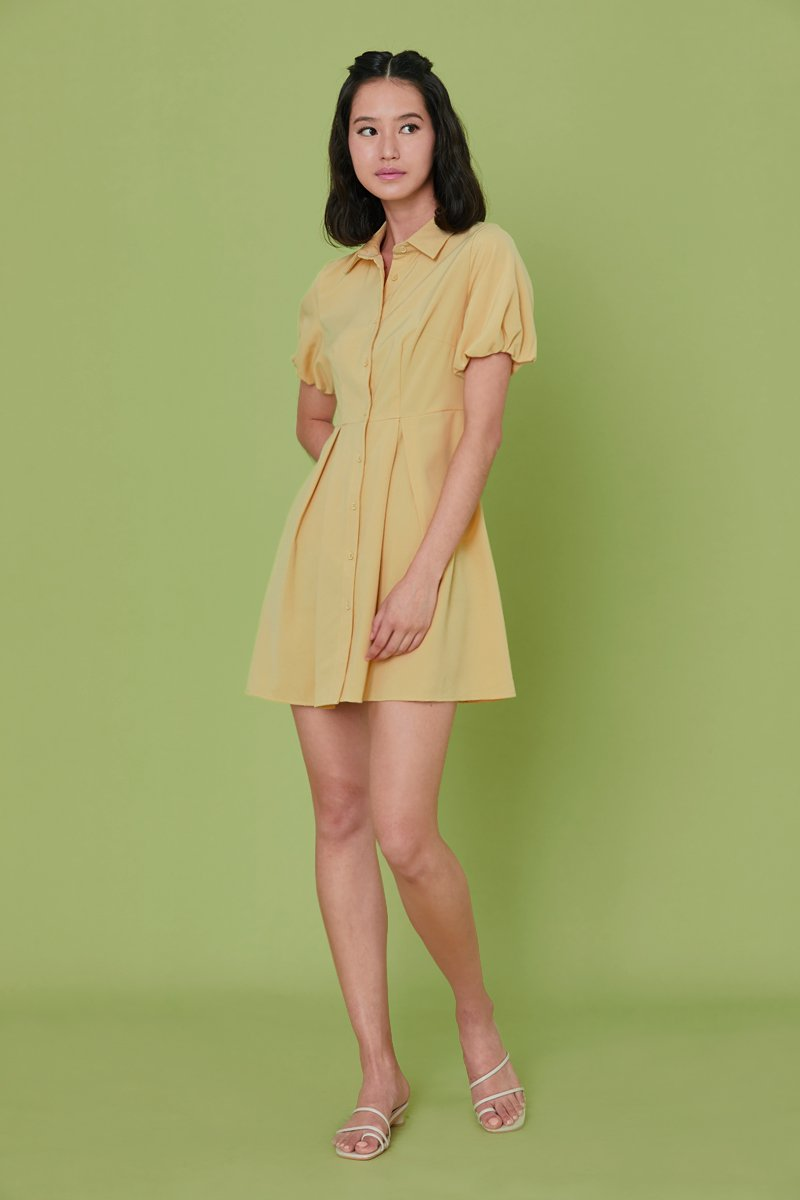 Jennie Puff Sleeve Button Dress Dandelion