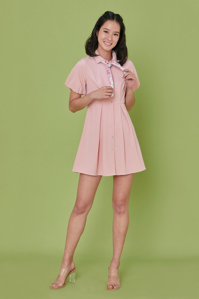 Jennie Puff Sleeve Button Dress Blush