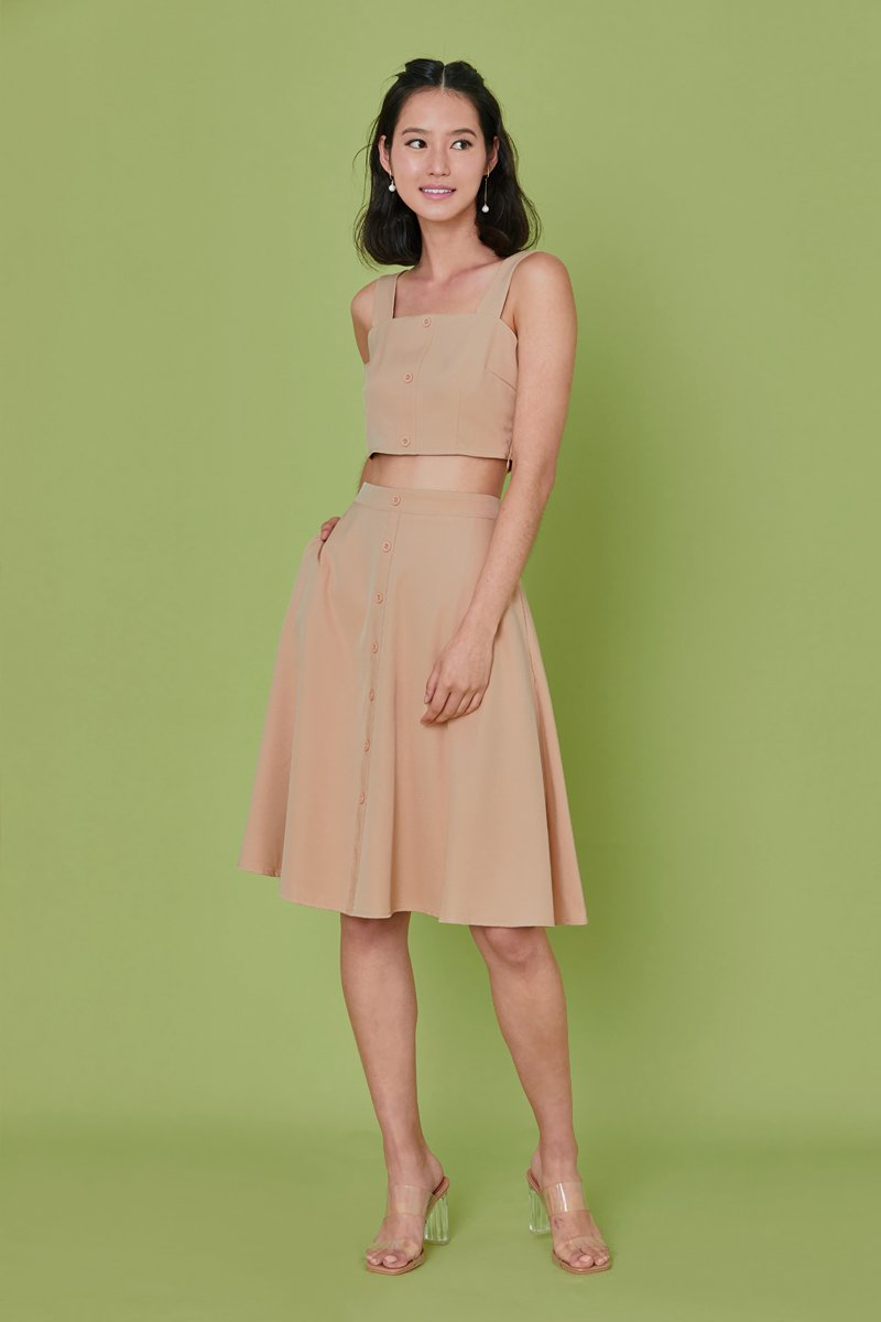Bevery Button Flare Midi Skirt Nude