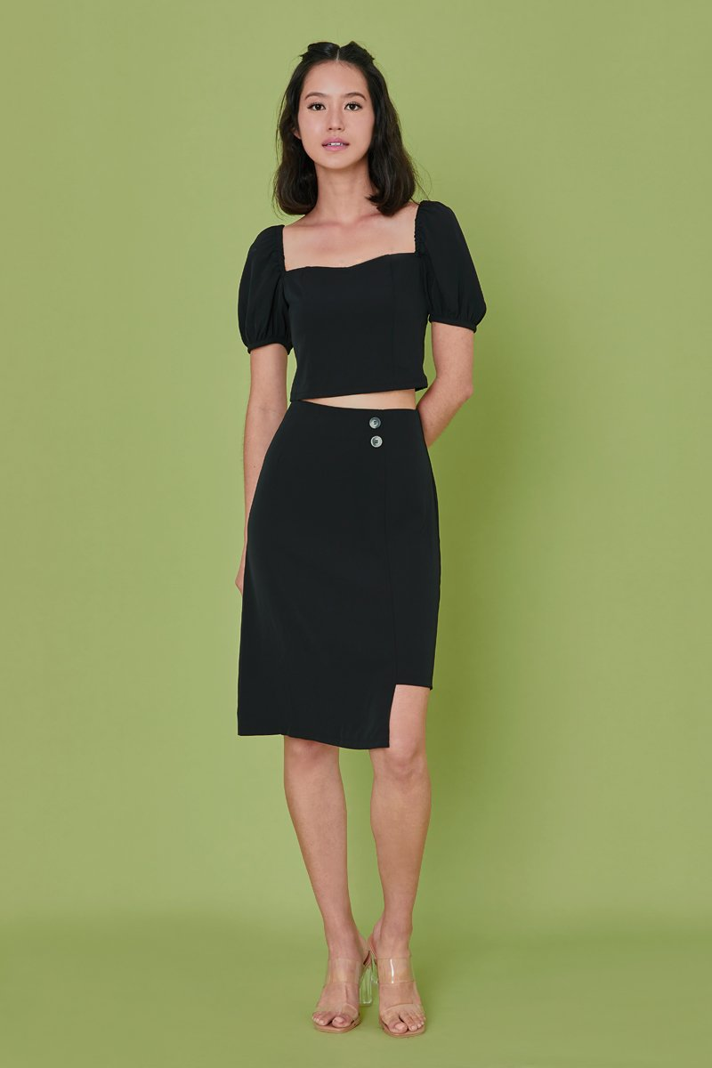 Hira Asymmetrical Skirt Black
