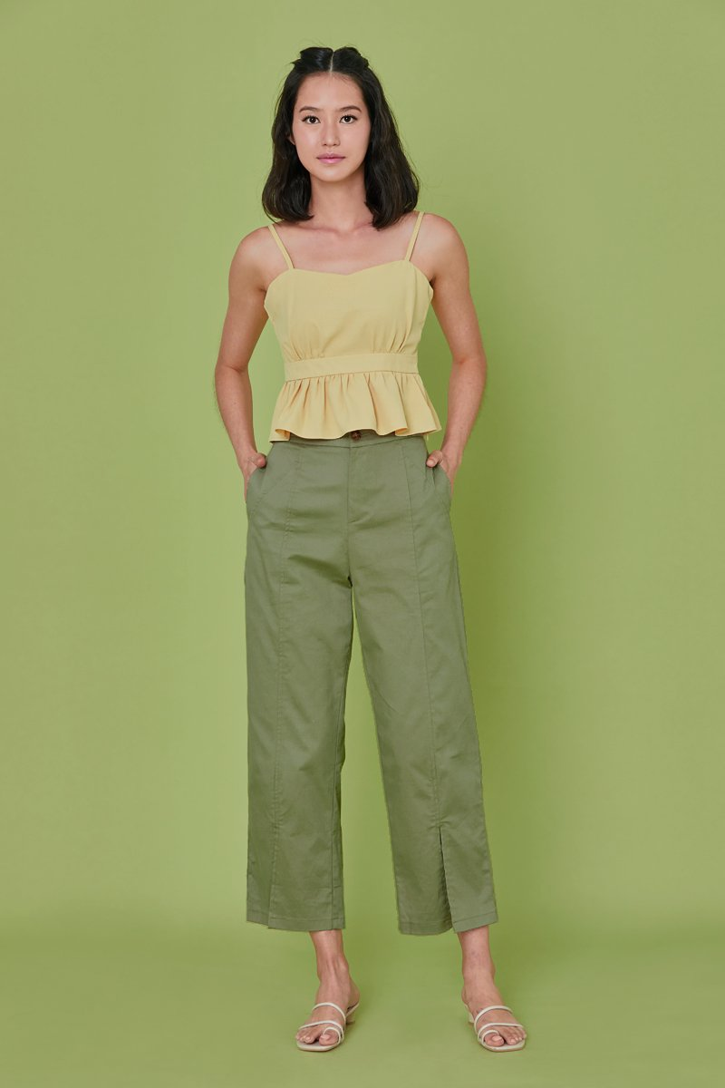 Dahlia High Waist Slit Pants Sage