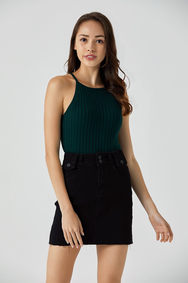 Whitnie Halter Knit Top Forest