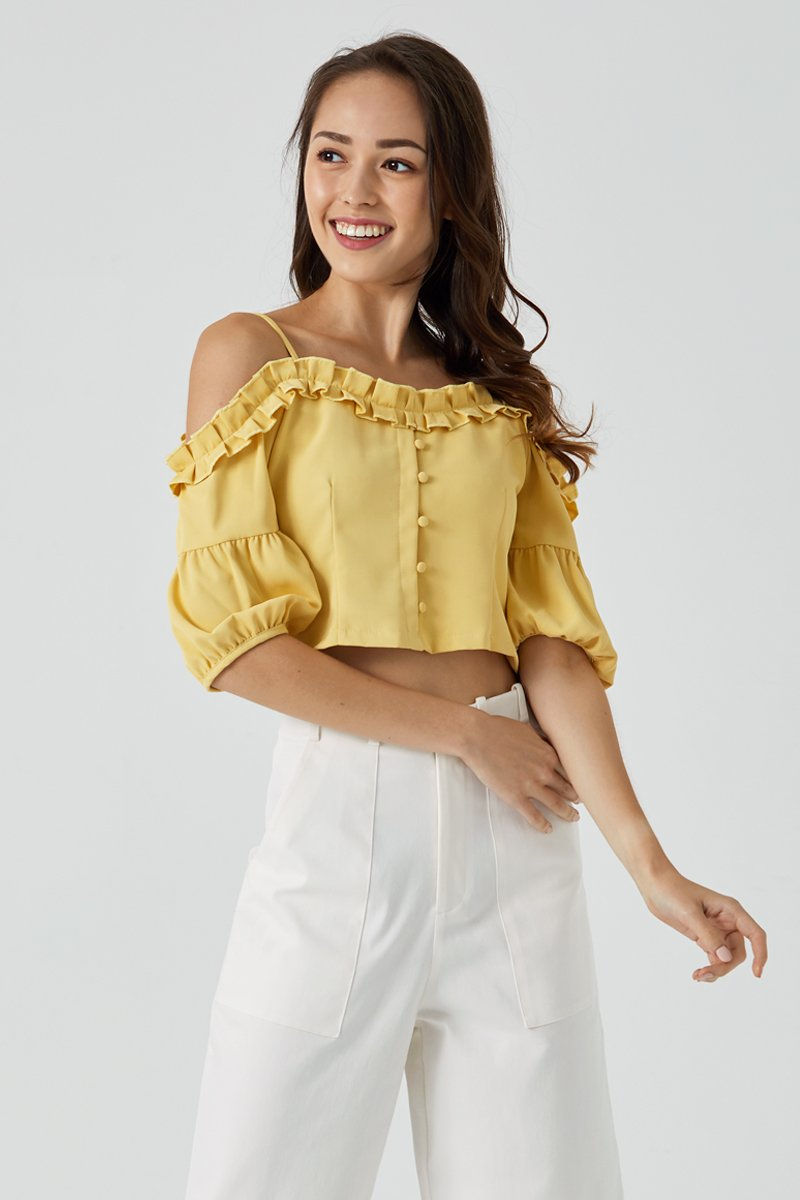 Nikita Ruffle Trim Cold Shoulder Top Dandelion