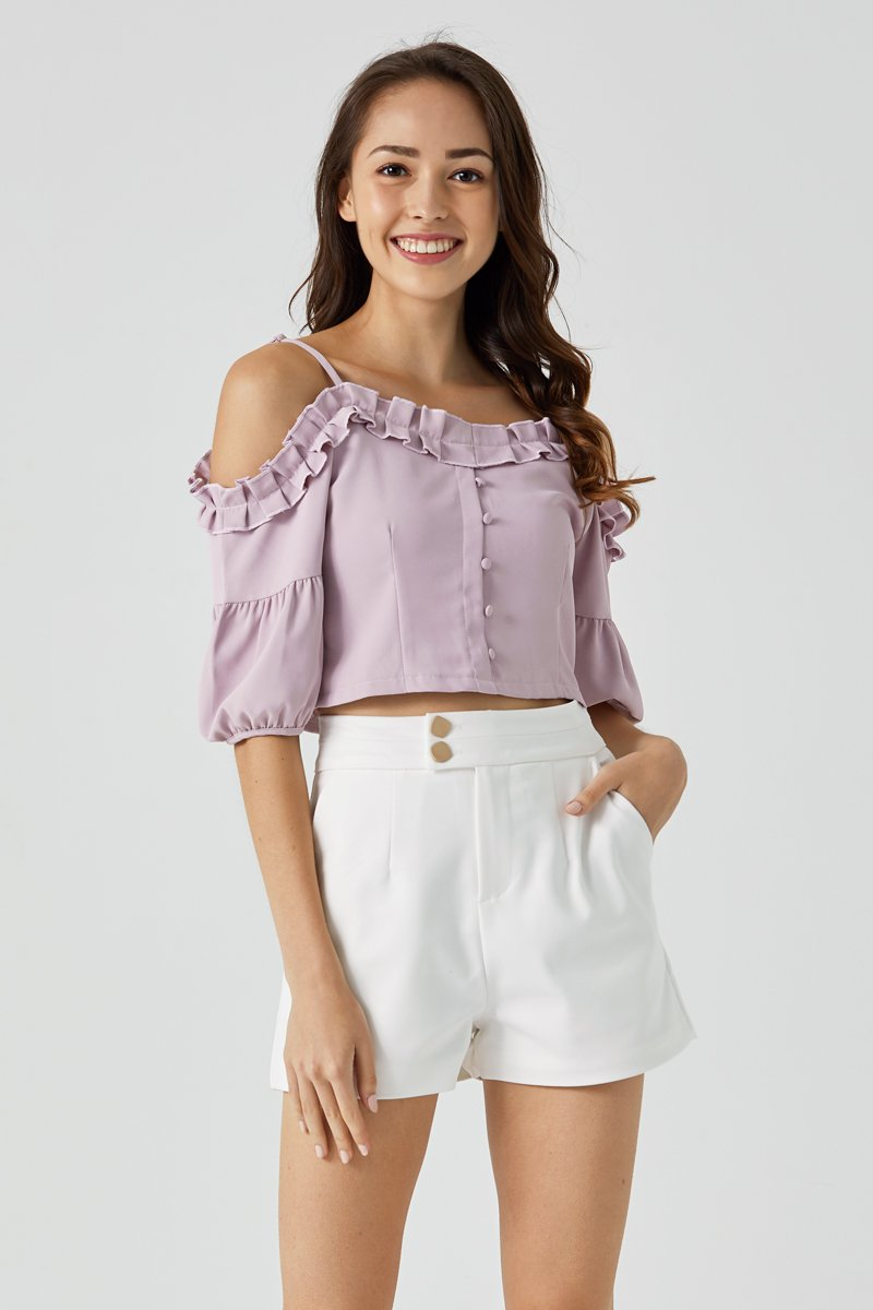 Nikita Ruffle Trim Cold Shoulder Top Blush