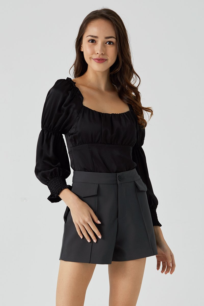 Mikelle Ruched Top Black