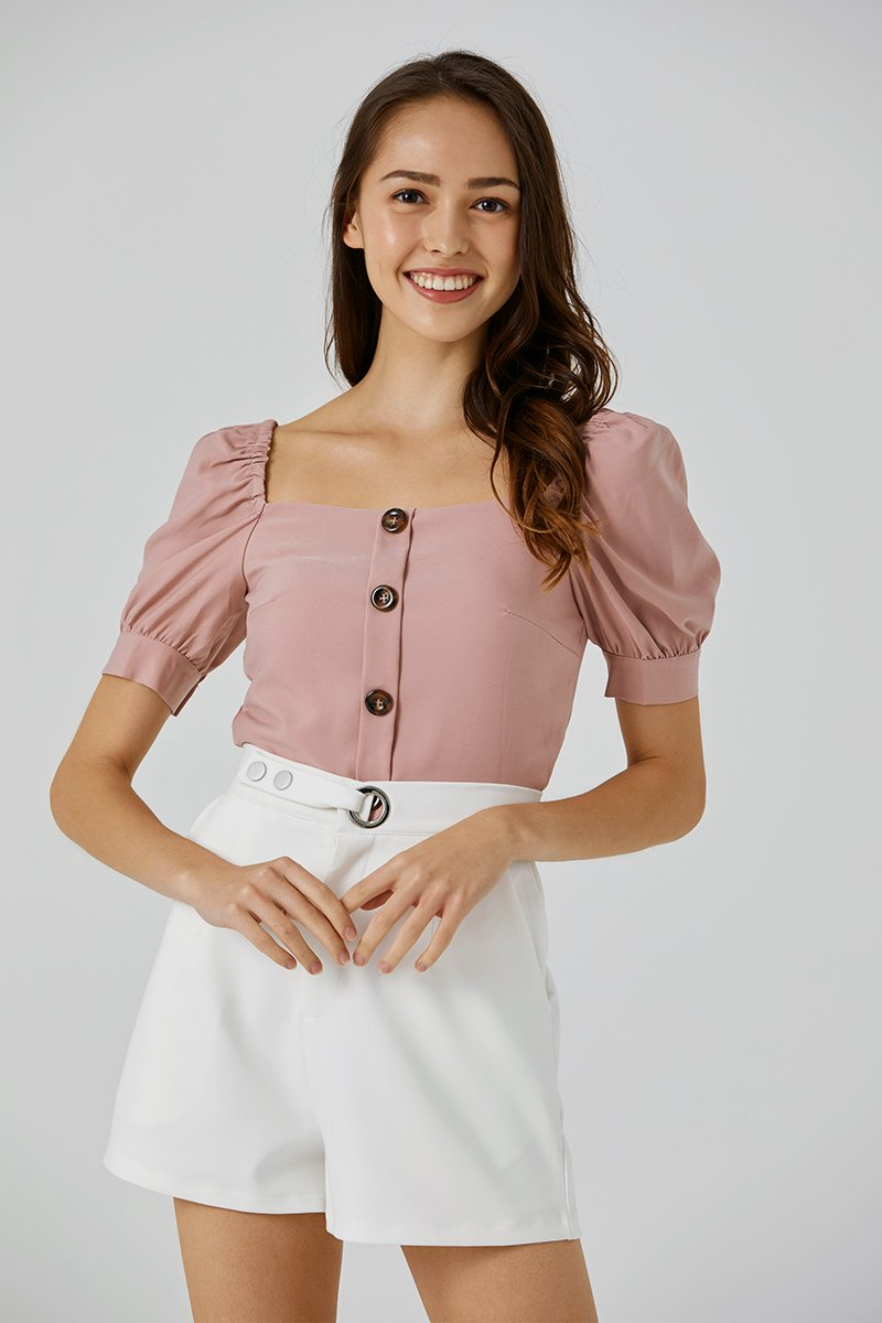 Shannon Puff Sleeve Top Blush