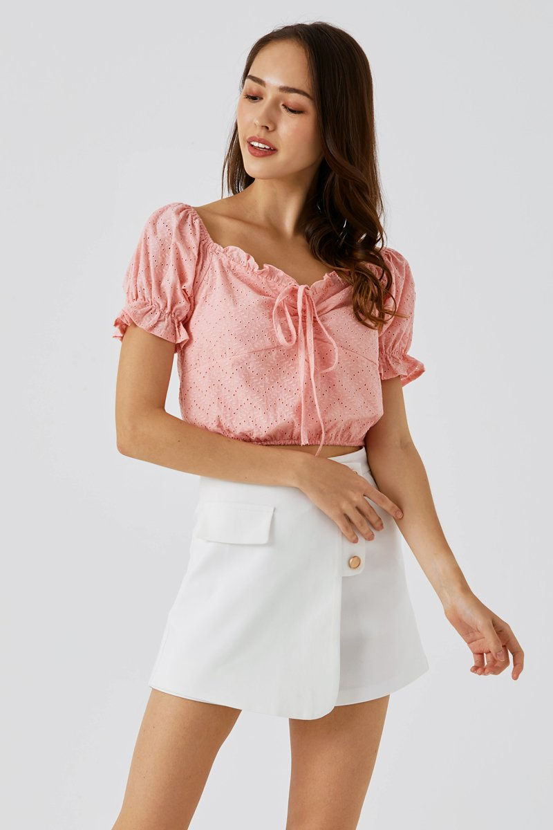 Camilia Eyelet Embroidery Top Blush
