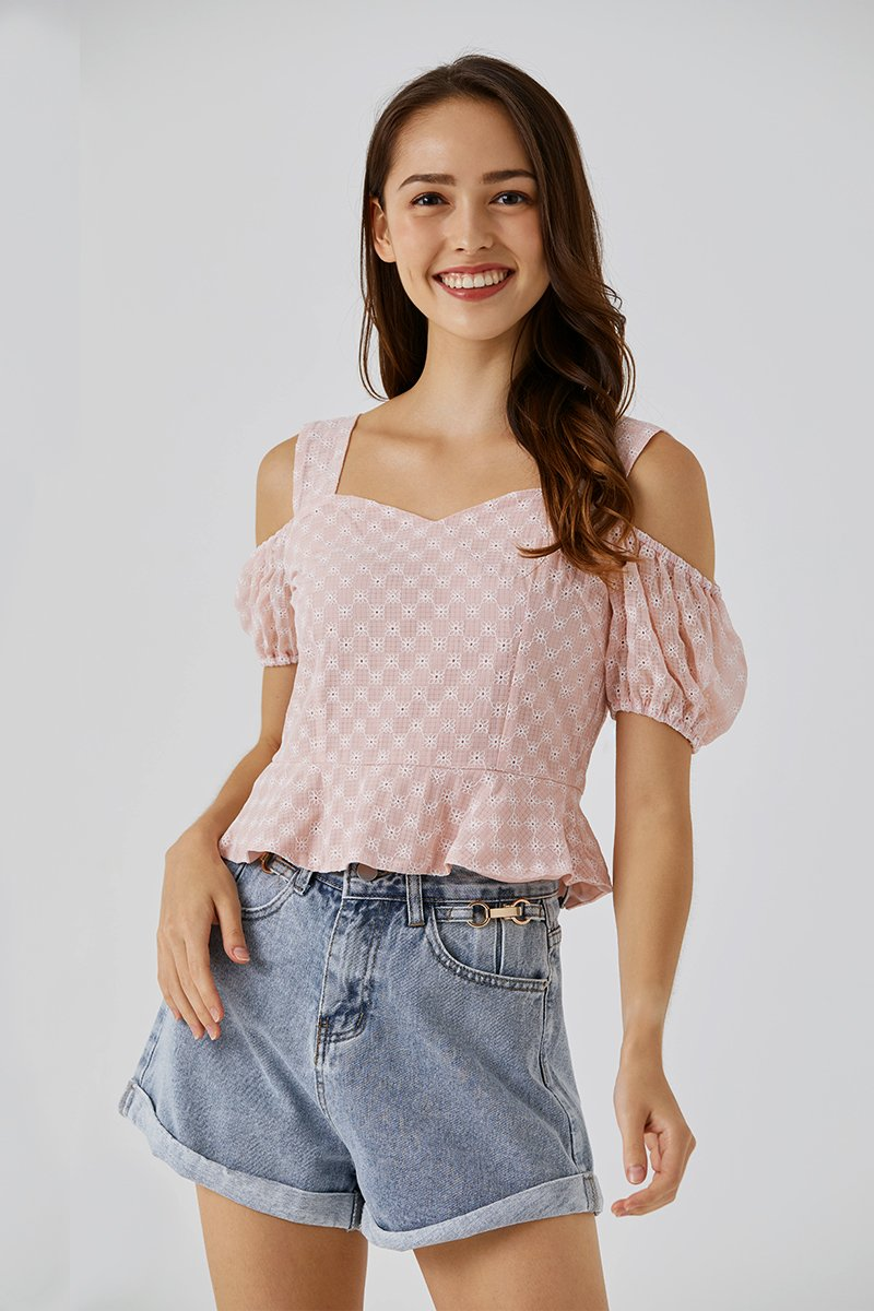 Cecilia Cold Shoulder Eyelet Top Blush