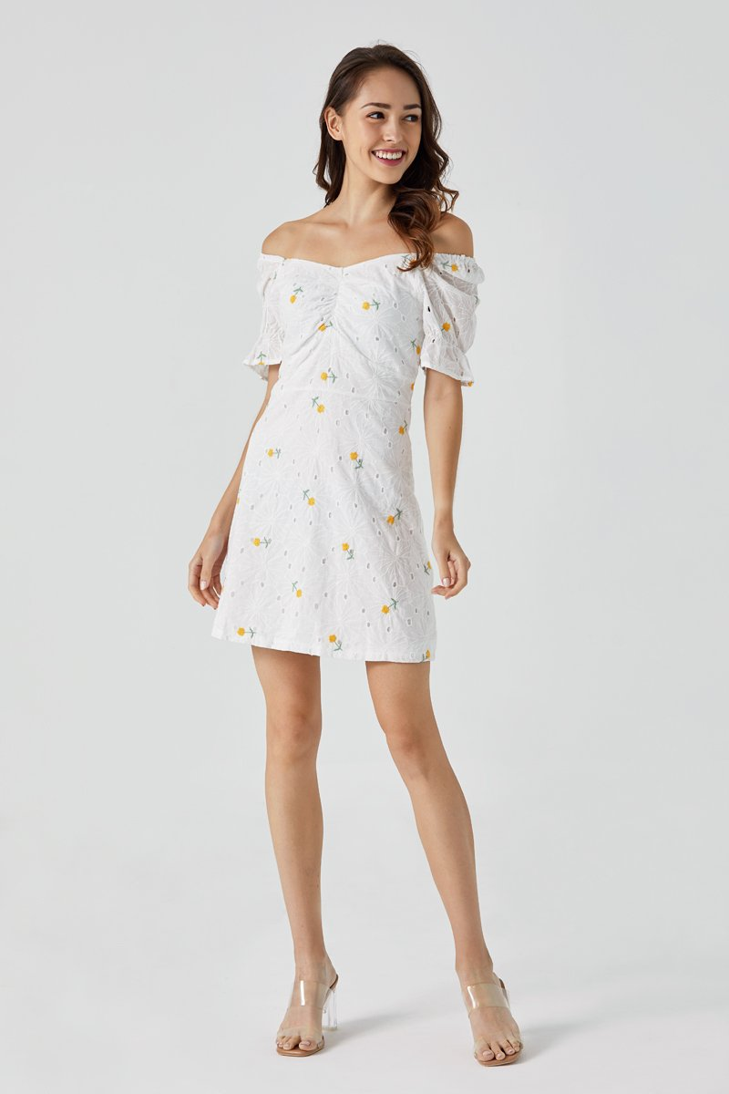 Tanya Floral Eyelet Dress Dandelion