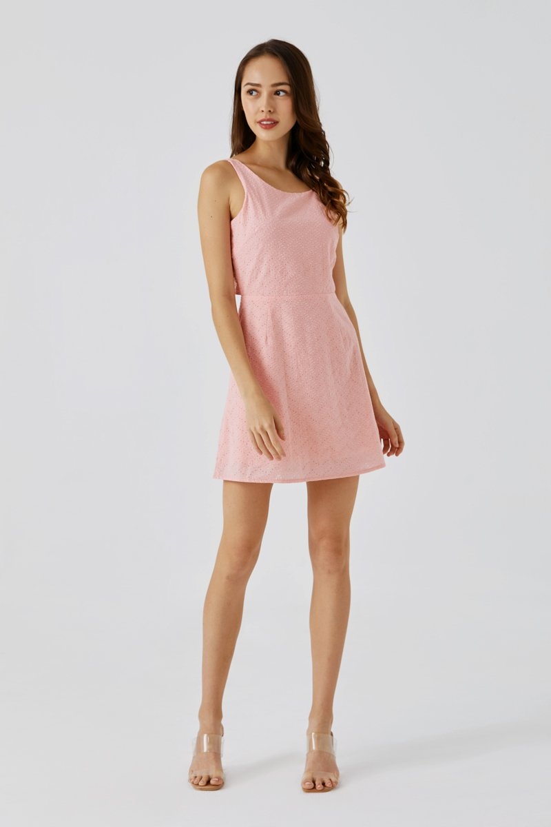 Camilia Eyelet Embroidery Dress Blush