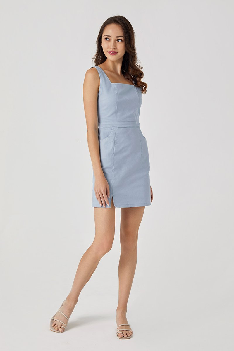 Piper Pinafore Denim Dress Sky