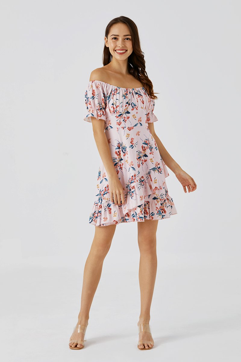 Anna Puff Sleeve Dress Blush