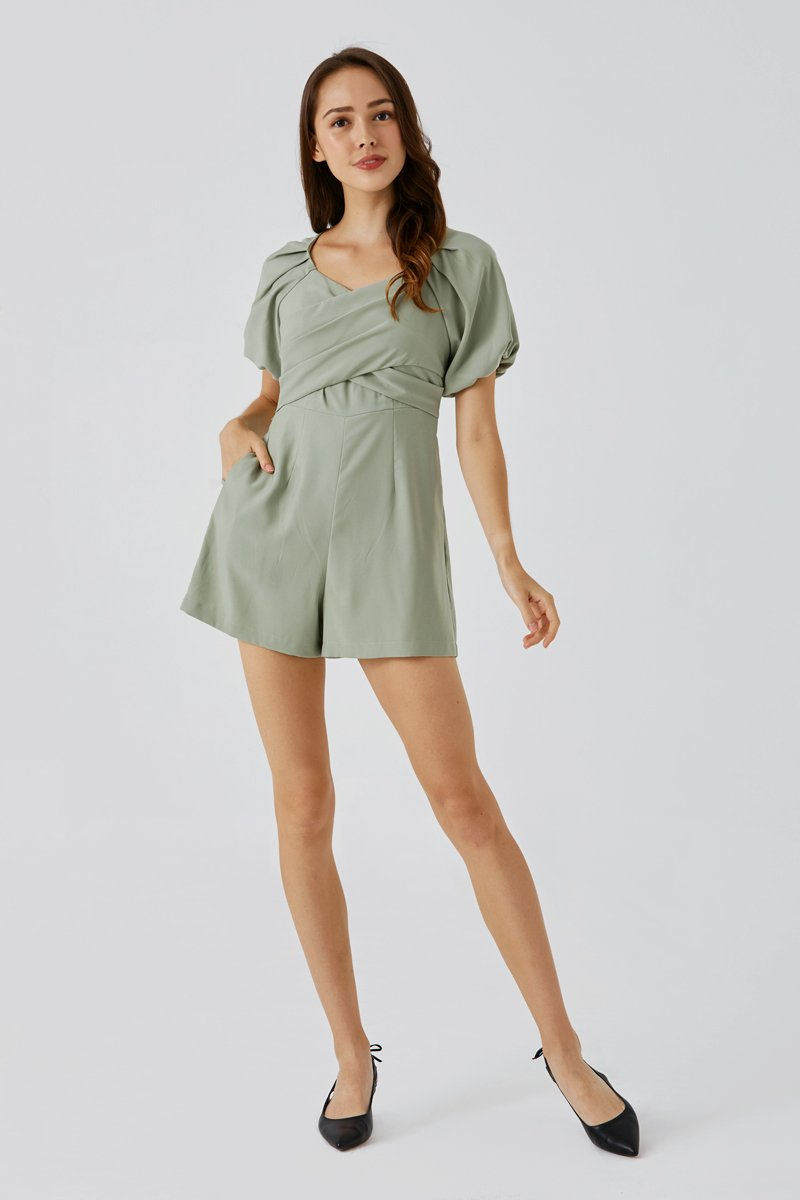Kaisley Criss Cross Ruched Romper Sage