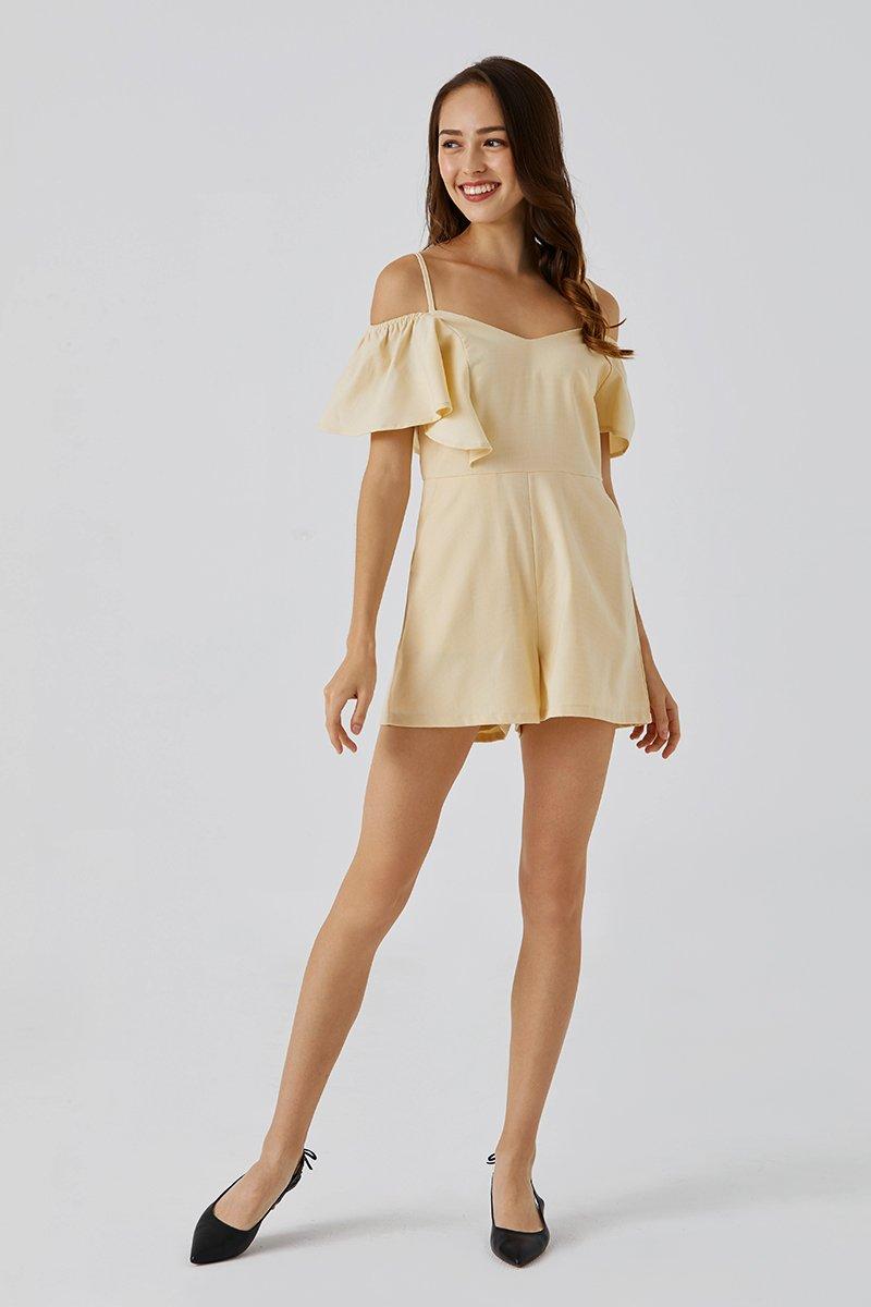 Adriana Ruffle Sleeve Romper Daffodil