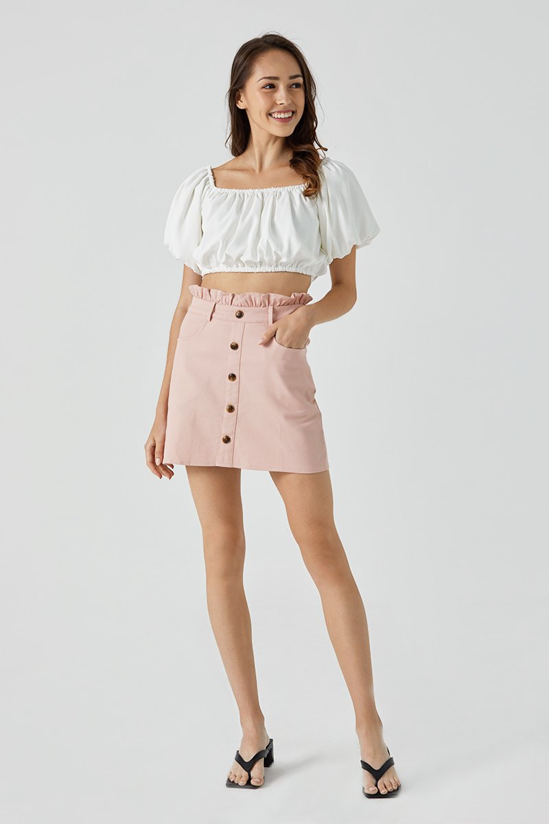 Kaylee Tortoise Shell Button Skirt Blush