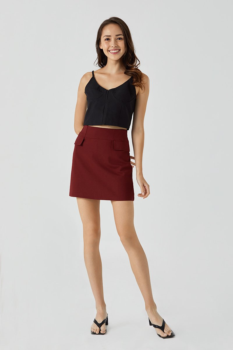 Juliana A line Mini Skirt Wine