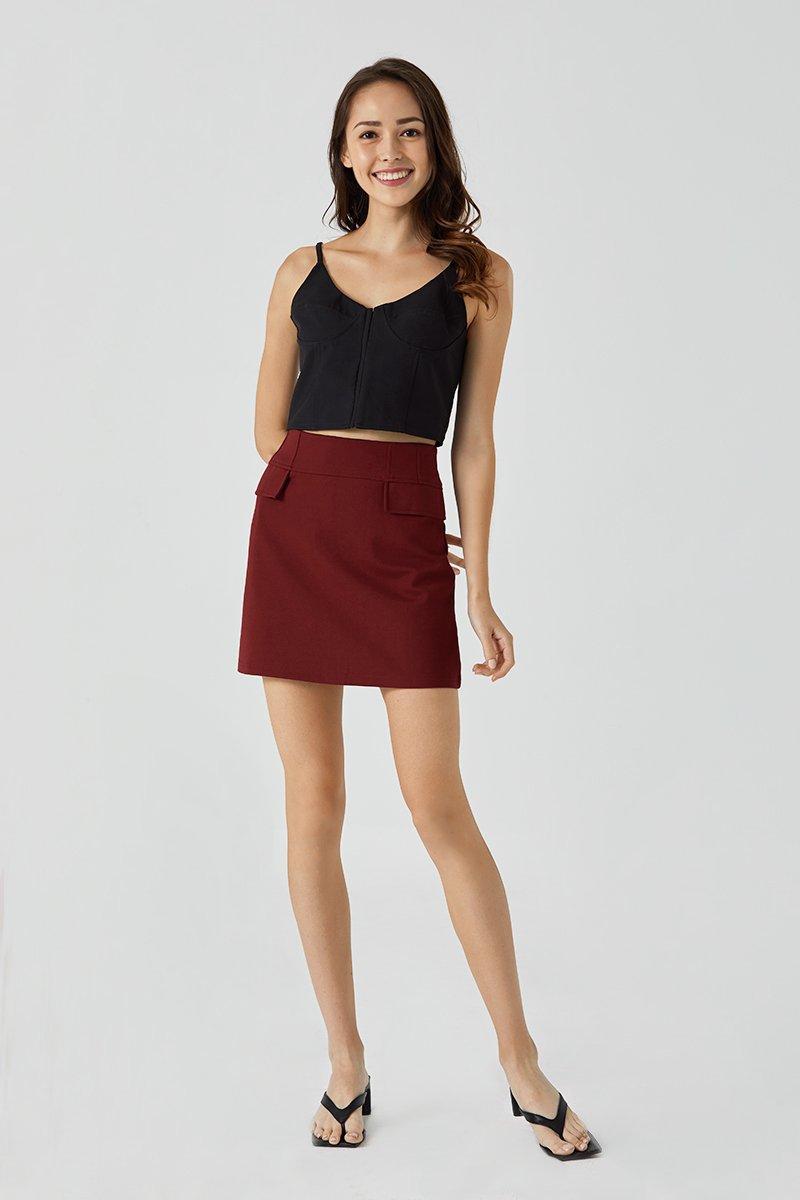 Juliana A line Mini Skirt Wine