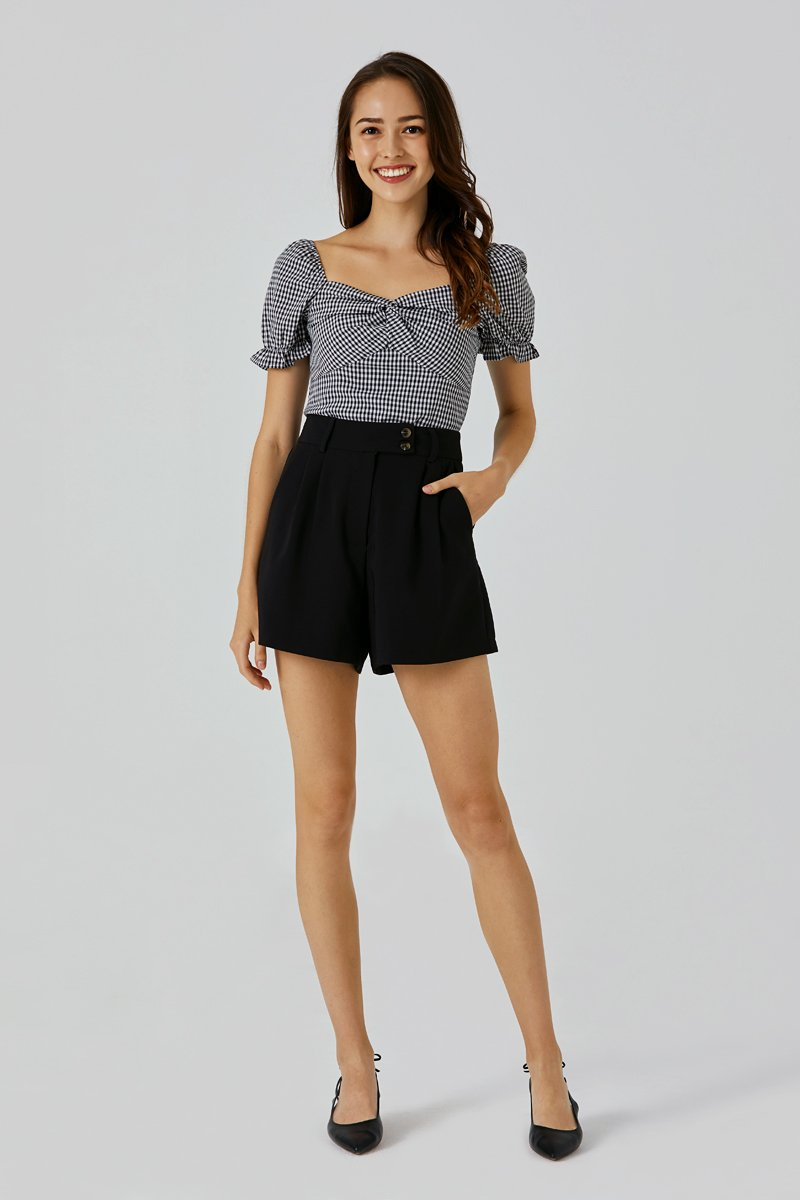 Callen Button Tailored Shorts Black