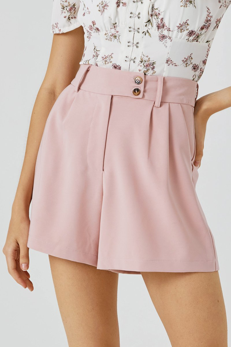 Callen Button Tailored Shorts Blush