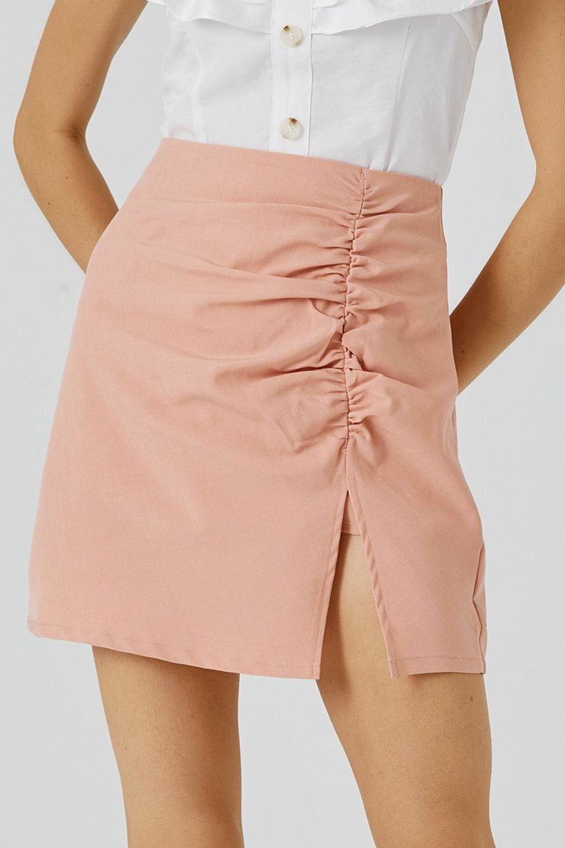 Madeline Ruched Skirt Blush
