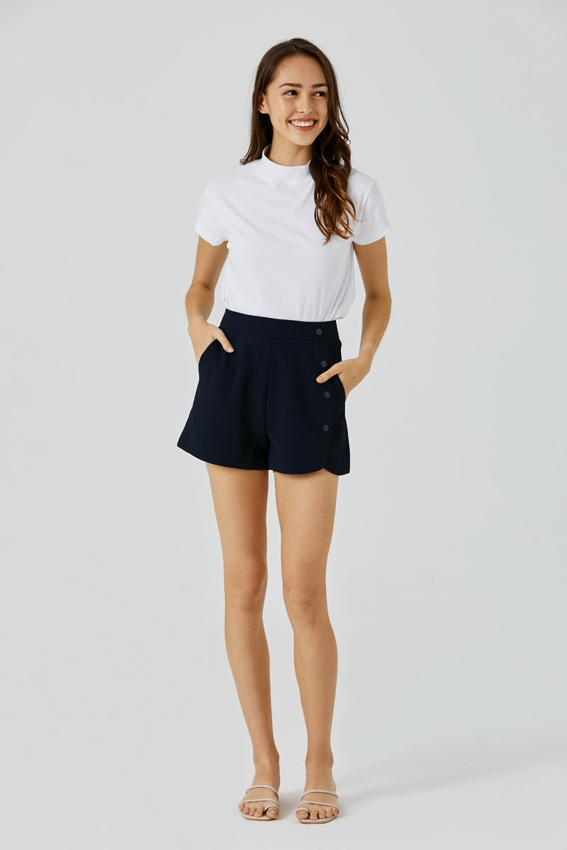 Randy Side Button Shorts Midnight