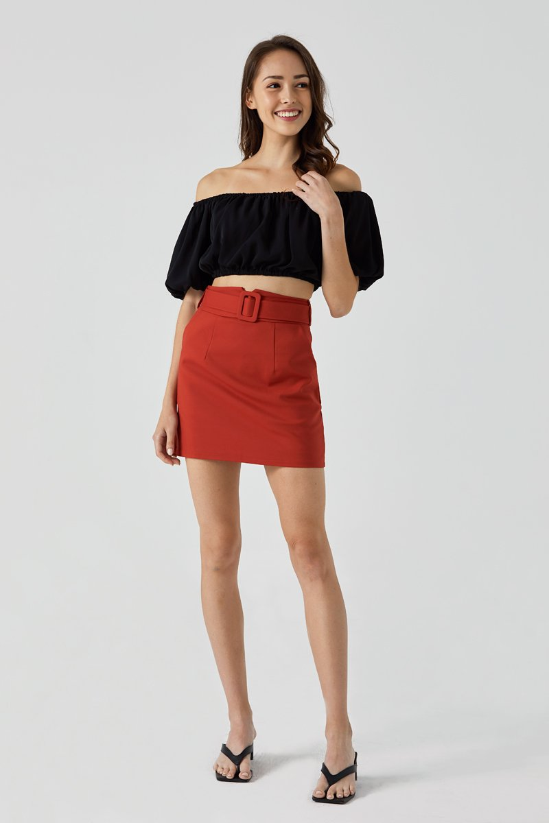 Zora High Waist Skirt Rust