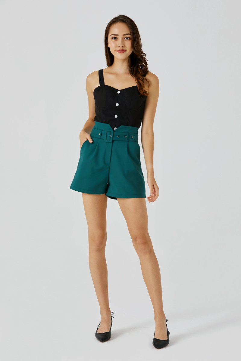 Shawna Belted Cut-Out Shorts Forest