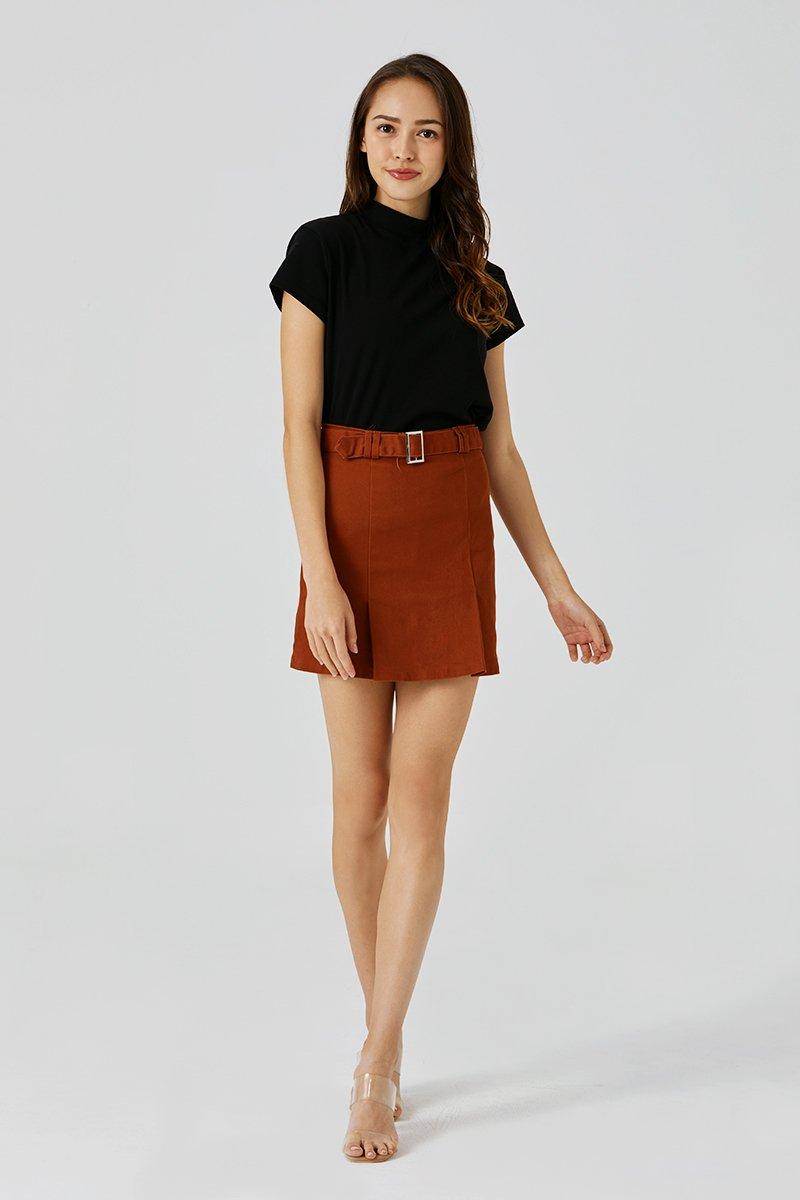 Zuri Belted Skirt Rust