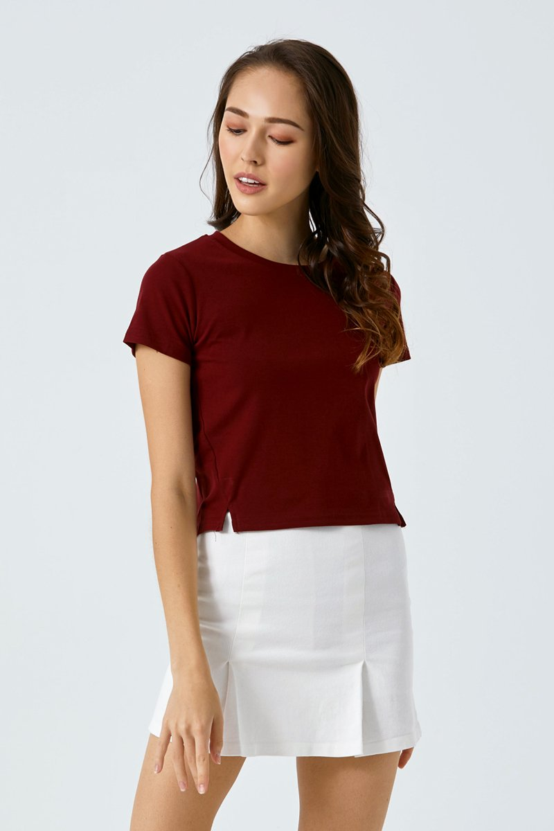 Lisza Cut Out Crop Top Maroon