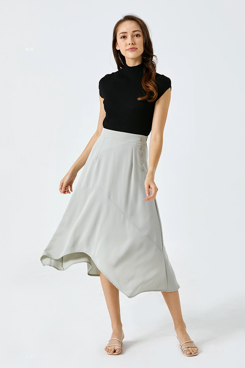 Charmaine Asymmetrical Midi Skirt Mint
