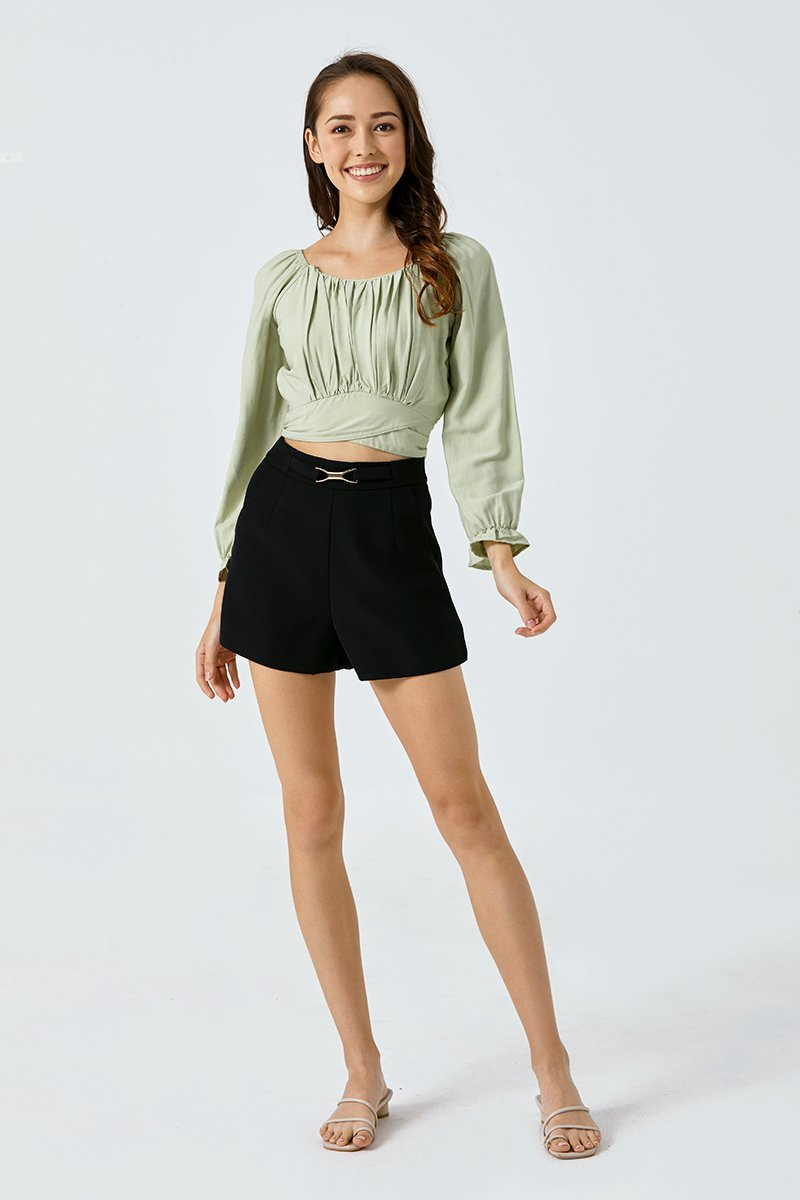 Breonna Gathered Wrap Top Mint