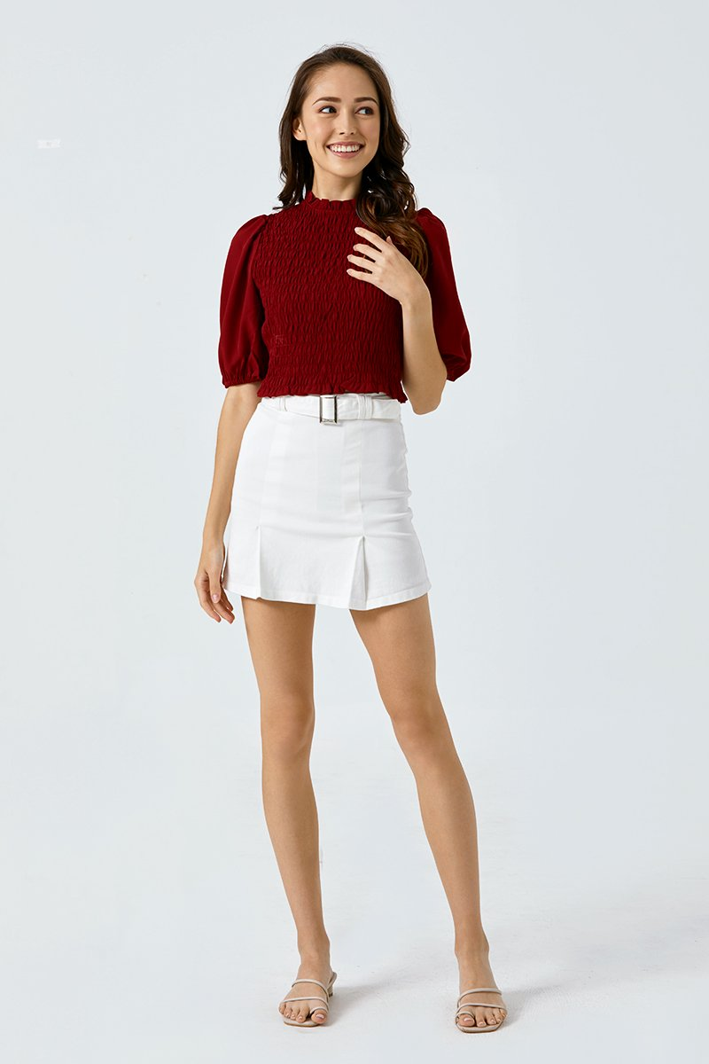Zuri Belted Skirt Ivory