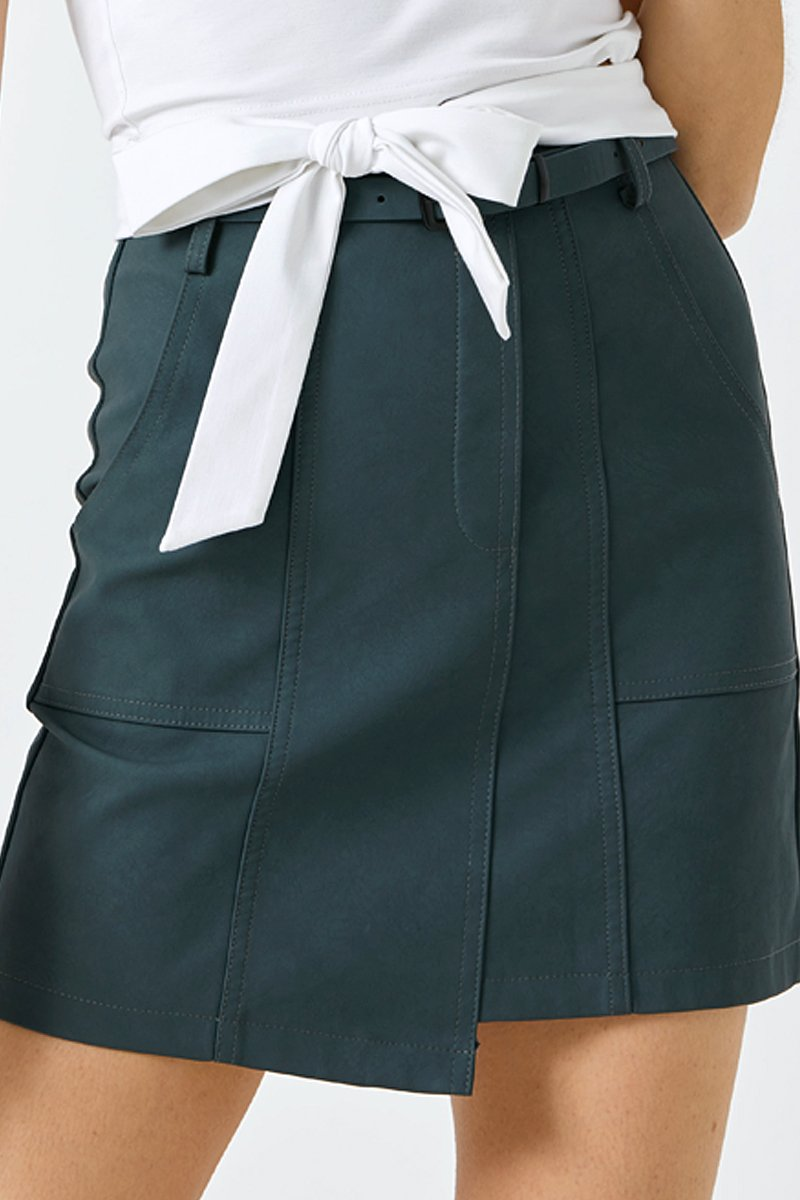 Candace Belted Leather Skirt Forest