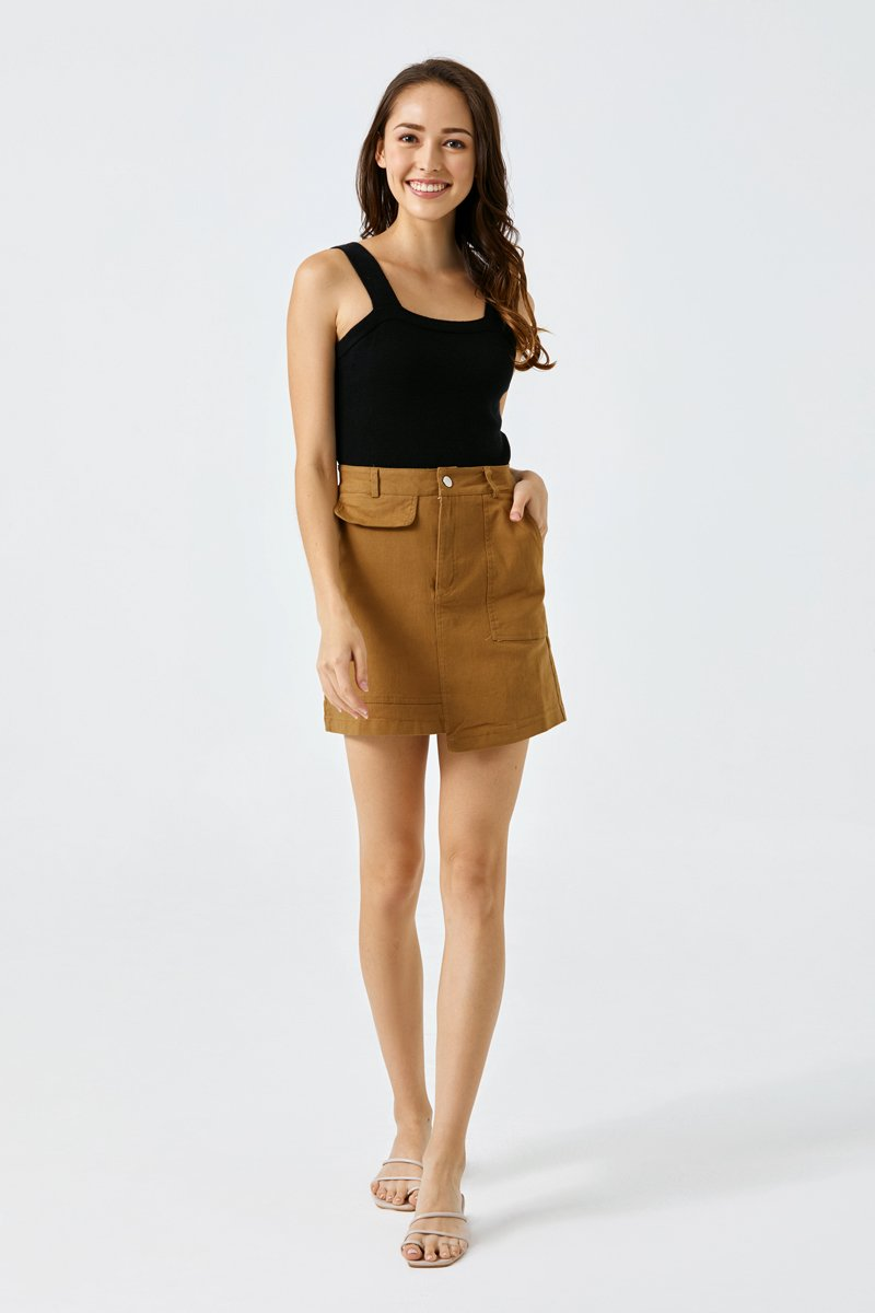 Kirsten Denim Skirt Caramel