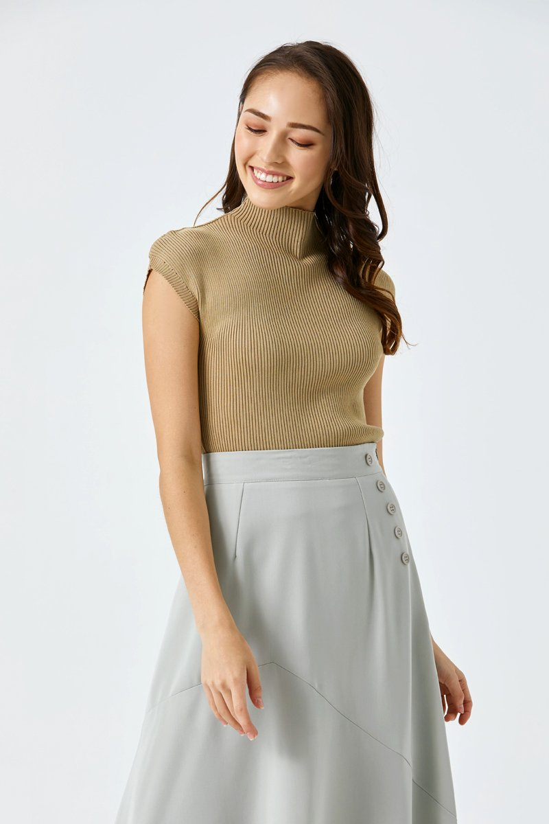 Gillian Cap Sleeve Knit Top Khaki