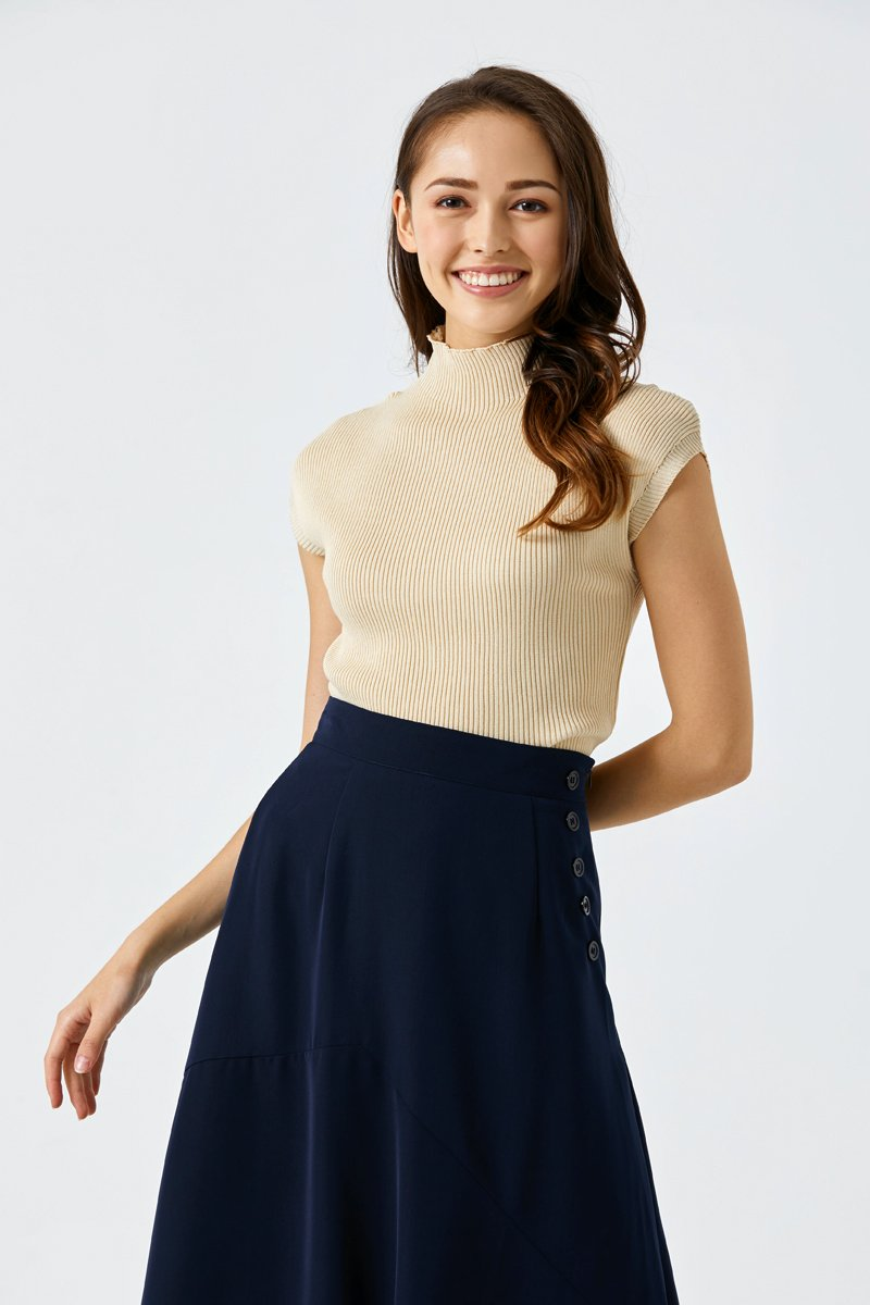Gillian Cap Sleeve Knit Top Sand